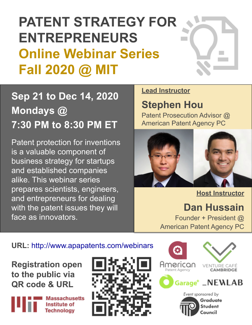 Patent Strategy for Entrepreneurs: Fall 2020 Webinar Series @ MIT
